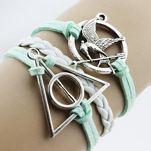 harry potter mockingjay bracelet jewellry hunger games bracelets leather bracelet charm bracelet Christmas gifts gift for mother father him her