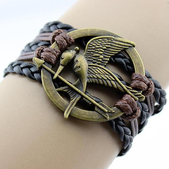 mockingjay bracelet jewellry hunger games bracelets leather bracelet charm bracelet Christmas gifts gift for mother father him her
