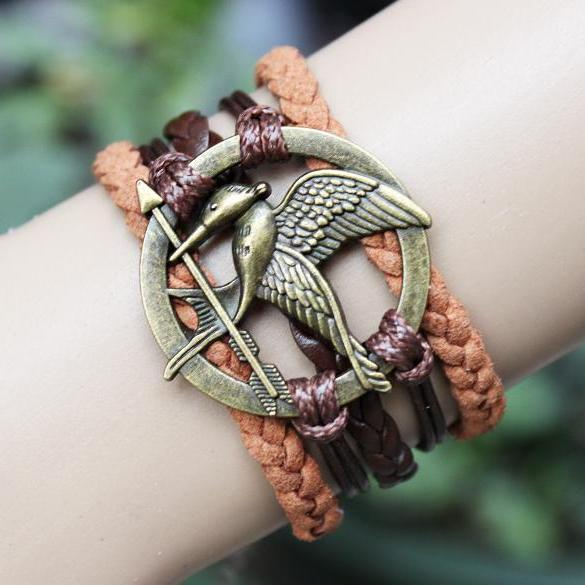 brown mockingjay bracelet jewellry hunger games bracelets leather bracelet charm bracelet Christmas gifts birthday gift for mother father him her