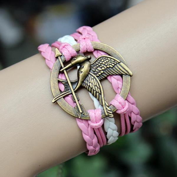 pink mockingjay bracelet jewellry hunger games bracelets leather bracelet charm bracelet Christmas gifts birthday gift for mother father him her