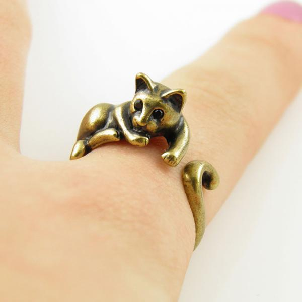 cute cat ring silver bronze cat wrap ring rings fashon jewelry